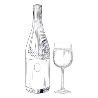 Mão, desenhado, garrafa vinho, e, vidro
