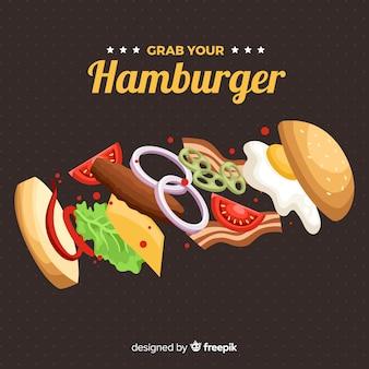 Mão, desenhado, hamburguer, fundo