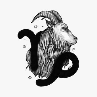 Mão, desenhado, horóscopo, símbolo, de, ilustração