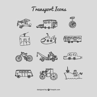 Mão, desenhado, ícones do transporte