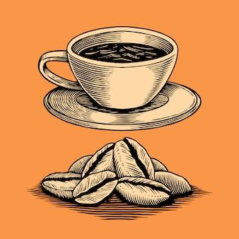 Mão, desenhado, ilustração, de, café, elemento