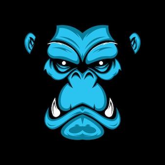Mão, desenhado, ilustração, de, gorila, rosto
