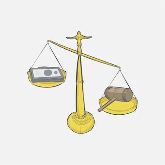 Mão, desenhado, ilustração, de, justiça