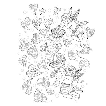 Mão, desenhado, ilustração, de, pequeno, ângulo, santo, de, amor