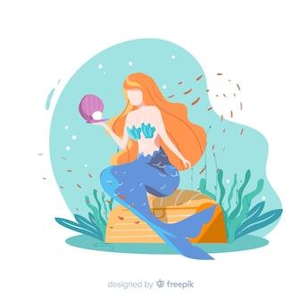 Mão, desenhado, ilustração, de, sereia