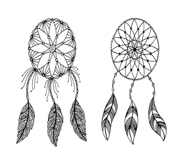 Mão, desenhado, ilustração, de, um, dreamcatcher