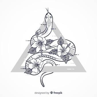 Mão, desenhado, incolor, cobra, ilustração