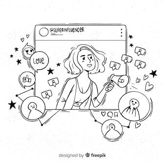 Mão, desenhado, influencer, menina, ilustração