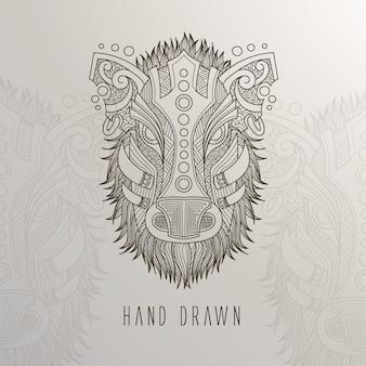 Mão, desenhado, javali, cabeça