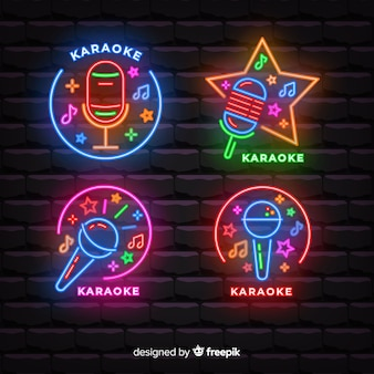 Mão, desenhado, karaoke, luz néon, cobrança