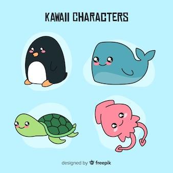 Mão, desenhado, kawaii, animais, cobrança