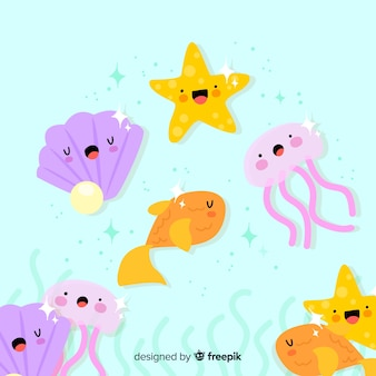 Mão, desenhado, kawaii, animal mar, cobrança