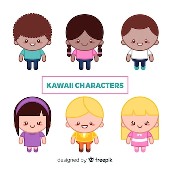 Mão, desenhado, kawaii, caráteres, cobrança