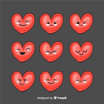 Mão, desenhado, kawaii, corações, cobrança