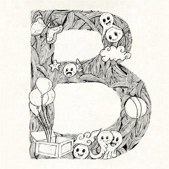 Mão, desenhado, letra, b, fundo