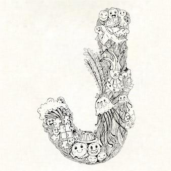 Mão, desenhado, letra, j, fundo