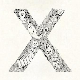 Mão, desenhado, letra, x, fundo