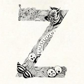 Mão, desenhado, letra, z, fundo