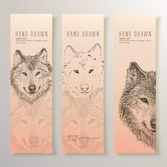 Mão, desenhado, lobo, bandeiras