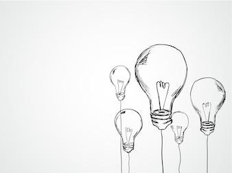 Mão, desenhado, luz, bulbos
