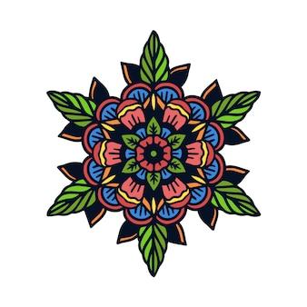 Mão, desenhado, mandala, escola velha, tatuagem, ilustração