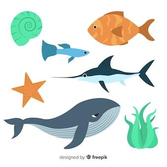 Mão, desenhado, mar, animais, cobrança