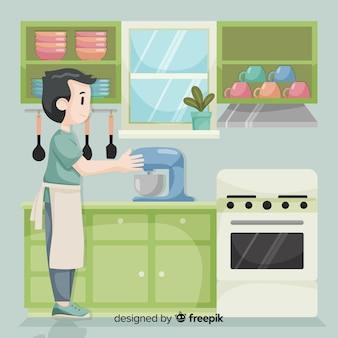 Mão, desenhado, menino, cozinhar, fundo