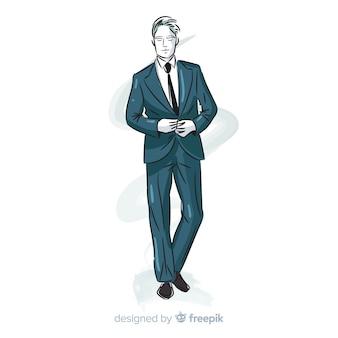 Mão, desenhado, moda, homem, ilustração
