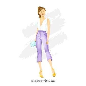 Mão, desenhado, moda, mulher, ilustração