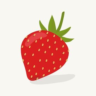Mão, desenhado, moranguinho, fruta, ilustração