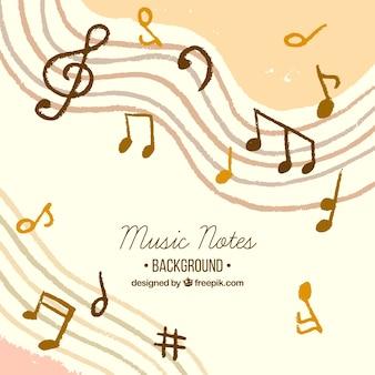 Mão, desenhado, música, notas, fundo