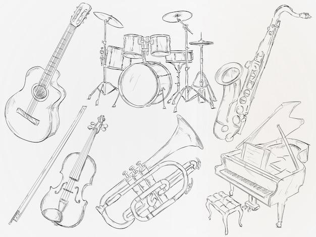 Mão, desenhado, musical, instrumento