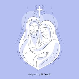 Mão, desenhado, natal, natividade, cena