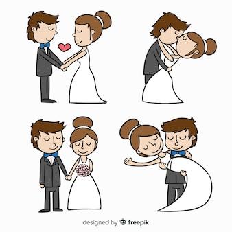 Mão, desenhado, newlyweds, cobrança