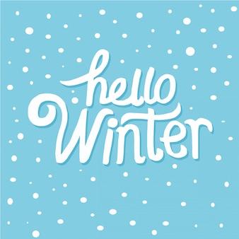 Mão, desenhado, olá, inverno, palavra