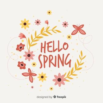 Mão, desenhado, olá, primavera, fundo