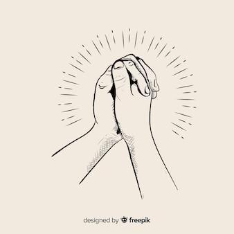 Mão, desenhado, orando, mãos, ilustração