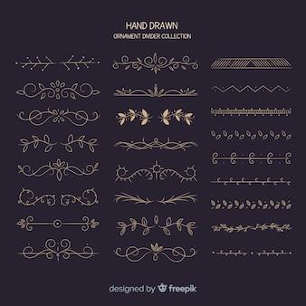 Mão, desenhado, ornamento, divisor, cobrança