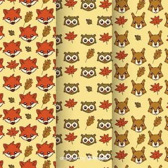 Mão, desenhado, outono, animais, padrão, cobrança