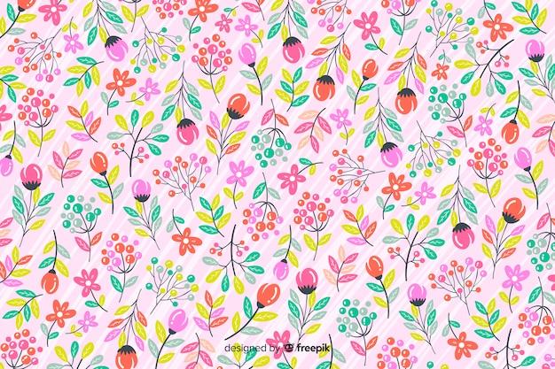 Mão, desenhado, padrão floral, fundo