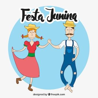Mão, desenhado, par, dançar, festa, junina, fundo