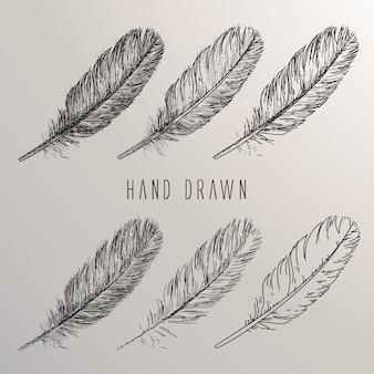 Mão desenhado pena coleção