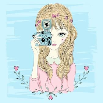 Mão, desenhado, pequeno, menina, ilustração