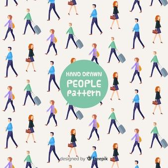 Mão, desenhado, pessoas, andar, padrão