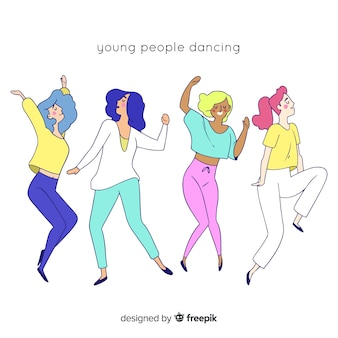 Mão, desenhado, pessoas, dançar, cobrança