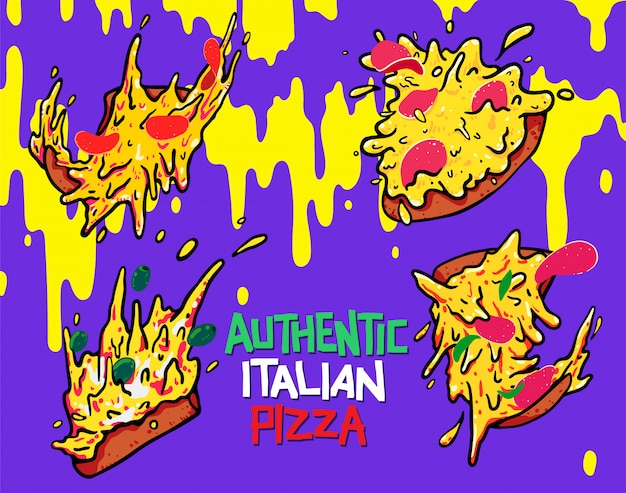 Mão, desenhado, pizza, ícone