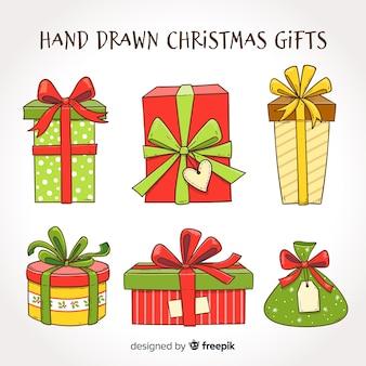 Mão, desenhado, presentes natal, cobrança