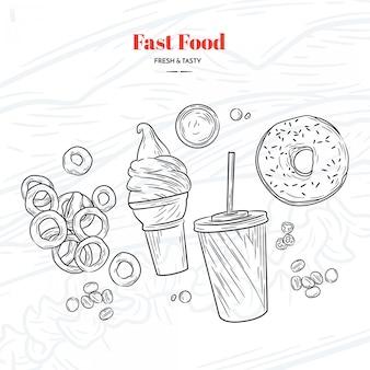 Mão, desenhado, rapidamente, alimento, elementos