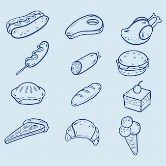 Mão, desenhado, rapidamente, alimento, ícones