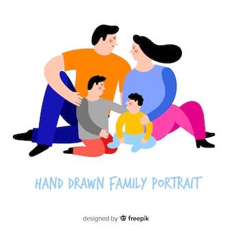 Mão, desenhado, retrato familiar